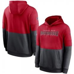 Men Tampa Bay Buccaneers Nike Sideline Impact Lockup Performance Pullover Hoodie Red Pewter