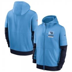 Men Tennessee Titans Nike Sideline Impact Lockup Performance Full Zip Hoodie Light Blue