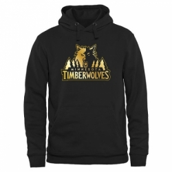 NBA Mens Minnesota Timberwolves Gold Collection Pullover Hoodie Black