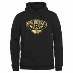 NBA Mens New Orleans Pelicans Gold Collection Pullover Hoodie Black