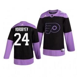Flyers 24 Mikhail Vorobyev Black Purple Hockey Fights Cancer Adidas Jersey