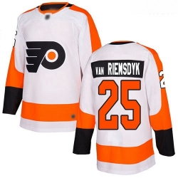 Flyers #25 James Van Riemsdyk White Road Authentic Stitched Hockey Jersey