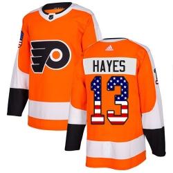 Men Philadelphia Flyers #13 Kevin Hayes Orange Home Authentic USA Flag NHL Jersey