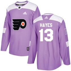 Men Philadelphia Flyers #13 Kevin Hayes Purple Authentic Fights Cancer NHL Jersey