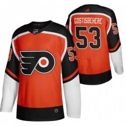 Men Philadelphia Flyers 53 Shayne Gostisbehere Orange Adidas 2020 21 Reverse Retro Alternate NHL Jersey