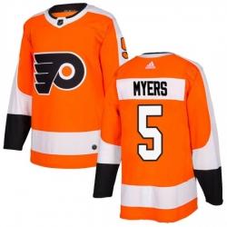 Men Philadelphia Flyers Philippe Myers Orange Adidas Authentic Home Jersey