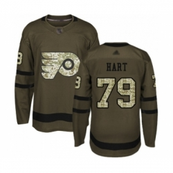 Men's Philadelphia Flyers #79 Carter Hart Authentic Green Salute to Service Hockey Jersey