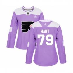 Women Philadelphia Flyers #79 Carter Hart Authentic Purple Fights Cancer Practice Hockey Jersey