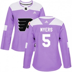 Women Philadelphia Flyers Philippe Myers Adidas Purple Authentic Fights Cancer Practice Jersey