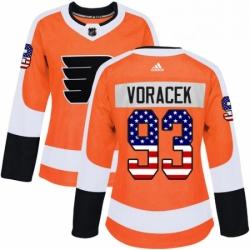 Womens Adidas Philadelphia Flyers 93 Jakub Voracek Authentic Orange USA Flag Fashion NHL Jersey