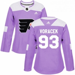 Womens Adidas Philadelphia Flyers 93 Jakub Voracek Authentic Purple Fights Cancer Practice NHL Jersey