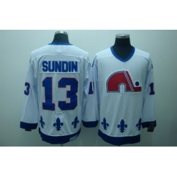 Quebec Nordiques 13 Sundin White Jerseys CCM