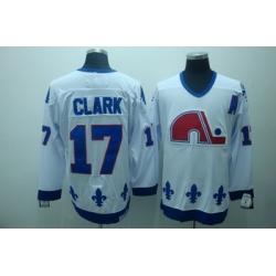 Quebec Nordiques 17 Clark White Jerseys CCM