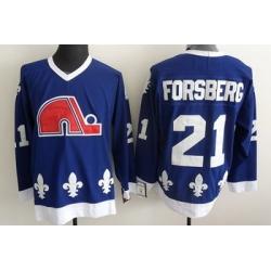 Quebec Nordiques 21 FORSBERG blue jerseys