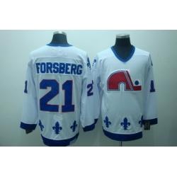 Quebec Nordiques 21 Forsberg White Jerseys CCM