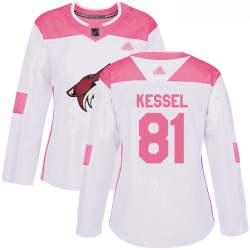 Coyotes #81 Phil Kessel White Pink Authentic Fashion Women Stitched Hockey Jersey