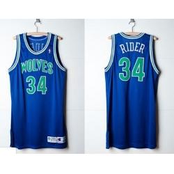 Men Minnsota Wolves 34 Isaiah Rider Stitched NBA jersey