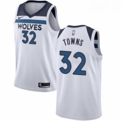 Mens Nike Minnesota Timberwolves 32 Karl Anthony Towns Authentic White NBA Jersey Association Edition