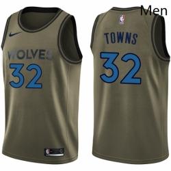 Mens Nike Minnesota Timberwolves 32 Karl Anthony Towns Swingman Green Salute to Service NBA Jersey