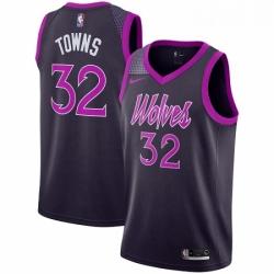 Mens Nike Minnesota Timberwolves 32 Karl Anthony Towns Swingman Purple NBA Jersey City Edition