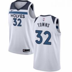 Mens Nike Minnesota Timberwolves 32 Karl Anthony Towns Swingman White NBA Jersey Association Edition