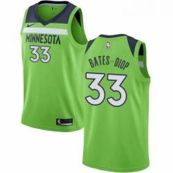 Mens Nike Minnesota Timberwolves 33 Keita Bates Diop Swingman Green NBA Jersey Statement Edition