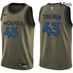 Mens Nike Minnesota Timberwolves 43 Anthony Tolliver Swingman Green Salute to Service NBA Jersey