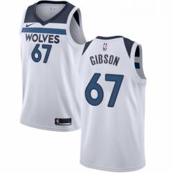 Mens Nike Minnesota Timberwolves 67 Taj Gibson Authentic White NBA Jersey Association Edition