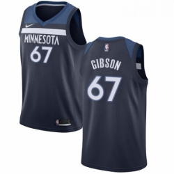 Mens Nike Minnesota Timberwolves 67 Taj Gibson Swingman Navy Blue Road NBA Jersey Icon Edition