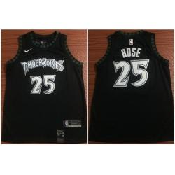 Timberwolves 25 Derrick Rose Black Nike Swingman Jersey