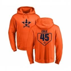 Men MLB Nike Houston Astros 45 Gerrit Cole Orange RBI Pullover Hoodie