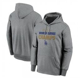 Men Los Angeles Dodgers Nike 2020 World Series Champions Gold Fleece Pullover Hoodie Gray