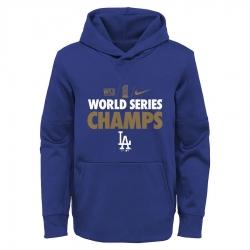 Men Los Angeles Dodgers Nike 2020 World Series Champions Gold Fleece Pullover Hoodie Royal