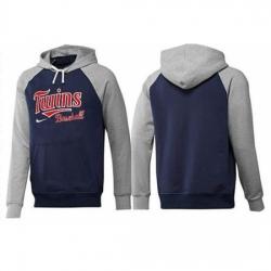 MLB Men Nike Minnesota Twins Pullover Hoodie NavyGrey