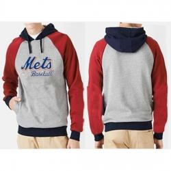 MLB Men Nike New York Mets Pullover Hoodie GreyRed