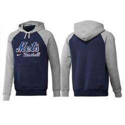MLB Men Nike New York Mets Pullover Hoodie NavyGrey