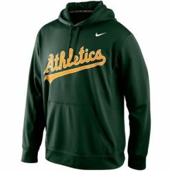 MLB Oakland Athletics Nike Men KO Wordmark Perfomance Hoodie Green
