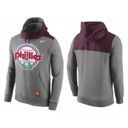 MLB Men Philadelphia Phillies Nike Gray Cooperstown Collection Hybrid Pullover Hoodie