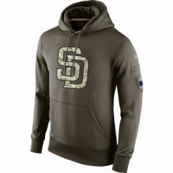 MLB Men San Diego Padres Nike Olive Salute To Service KO Performance Hoodie