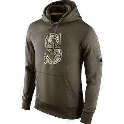 MLB Men Seattle Mariners Nike Olive Salute To Service KO Performance Hoodie