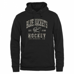 NHL Mens Columbus Blue Jackets Black Camo Stack Pullover Hoodie