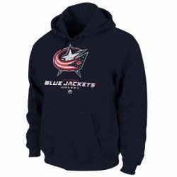 NHL Mens Columbus Blue Jackets Majestic Critical Victory VIII Fleece Hoodie Navy Blue
