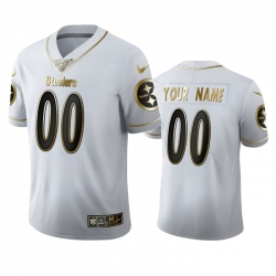 Men Women Youth Toddler Pittsburgh Steelers Custom Men Nike White Golden Edition Vapor Limited NFL 100 Jersey