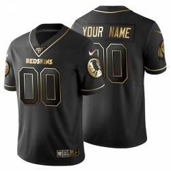 Men Women Youth Toddler Washington Redskins Custom Men Nike Black Golden Limited NFL 100 Jersey