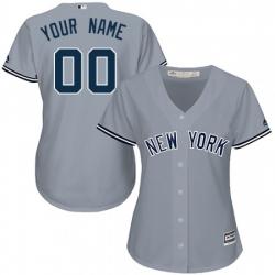Men Women Youth All Size New York Yankee Custom Cool Base MLB Jersey Grey