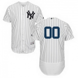 Men Women Youth All Size New York Yankees Majestic Home White Navy Flex Base Authentic Collection Custom Jersey