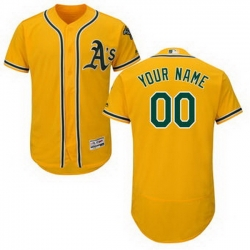 Men Women Youth All Size Oakland Athletics Majestic Alternate Gold Flex Base Authentic Collection Custom Jersey
