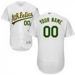 Men Women Youth All Size Oakland Athletics Majestic Home White Flex Base Authentic Collection Custom Jersey