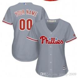 Men Women Youth All Size Philadelphia Phillies Cool Base Custom MLB Jersey Grey