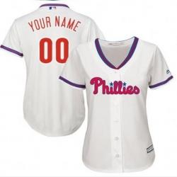 Men Women Youth All Size Philadelphia Phillies Cool Base Custom MLB Jersey White